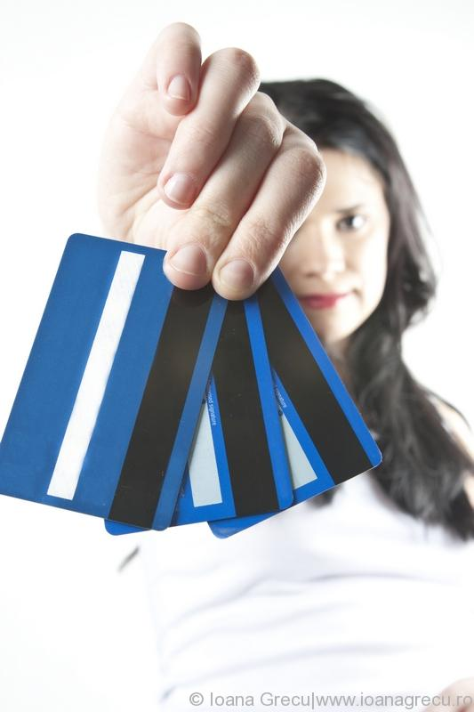 Stock photo of woman with credit cards